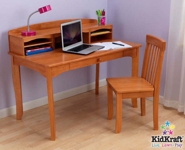 Kids Avalon Desk With Hutch In Honey Color From