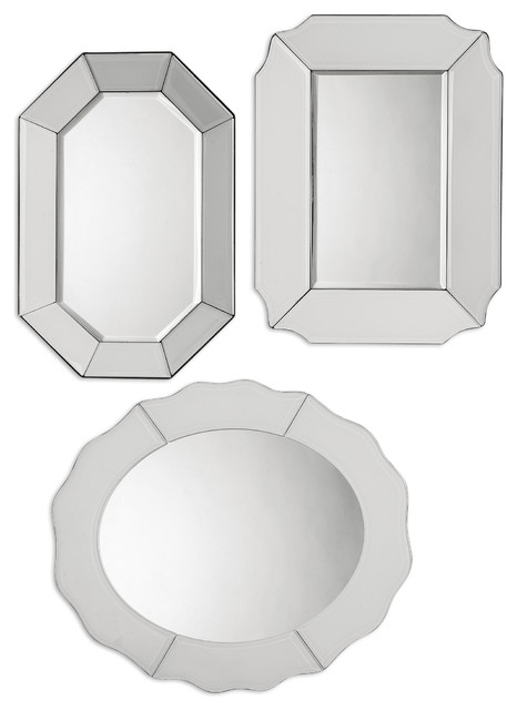 Bianco frameless mirror set 3 traditional wall mirrors for Small decorative mirrors