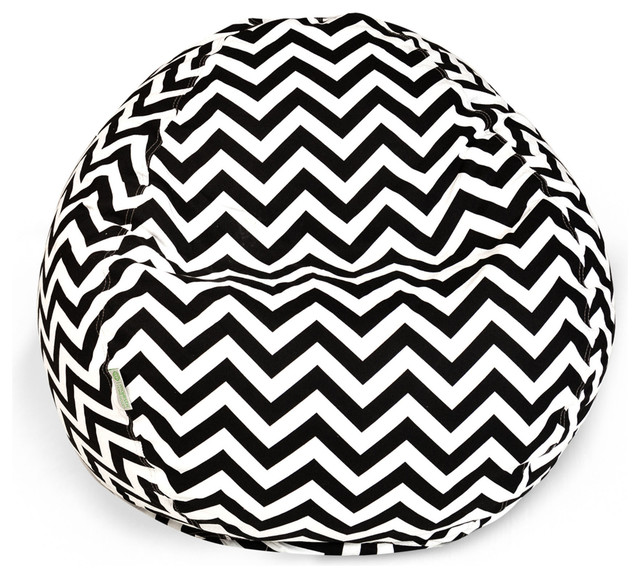 Outdoor Chevron Small Beanbag, Black contemporary-outdoor-lounge-chairs