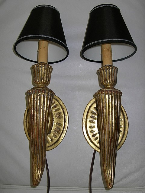 Wall Sconces With Black Shades : Pair of Ribbed Gilded Wall Sconces with Black Silk Shades - Wall Sconces - los angeles - by LA ...