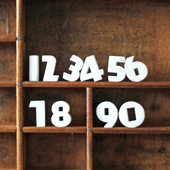 Porcelain Number Tacks 0 thru 9 by AMradio eclectic-desk-accessories