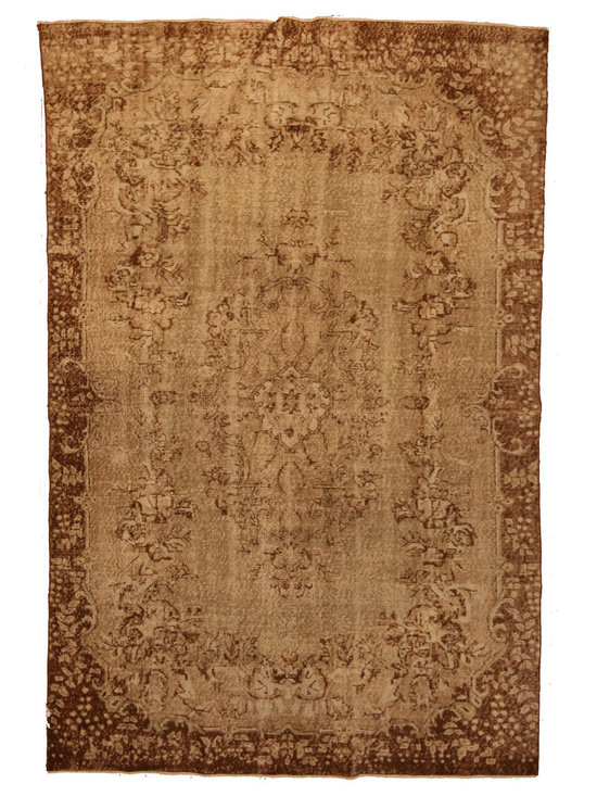 Warm Grey and Brown Overdyed Rug - Rich color with hints of underlying pattern revive well-loved vintage Turkish carpets into a truly fabulous area rug.