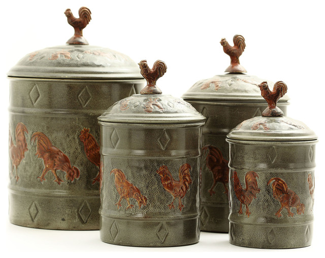 Pantryware art nouveau versailles country rooster for Hearth and home designs canister set