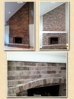 Wheaton Il Two Story Brick Fireplace Staining Painting