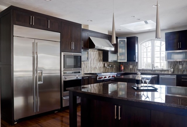 Walnut Contemporary Kitchen - Modern - Kitchen Cabinetry - boston - by ...