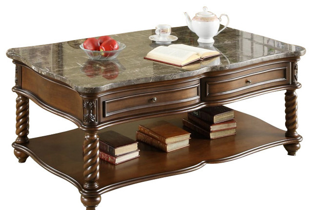 Homelegance Lockwood 3 Piece Rectangular Coffee Table Set With Marble Top Traditional Coffee