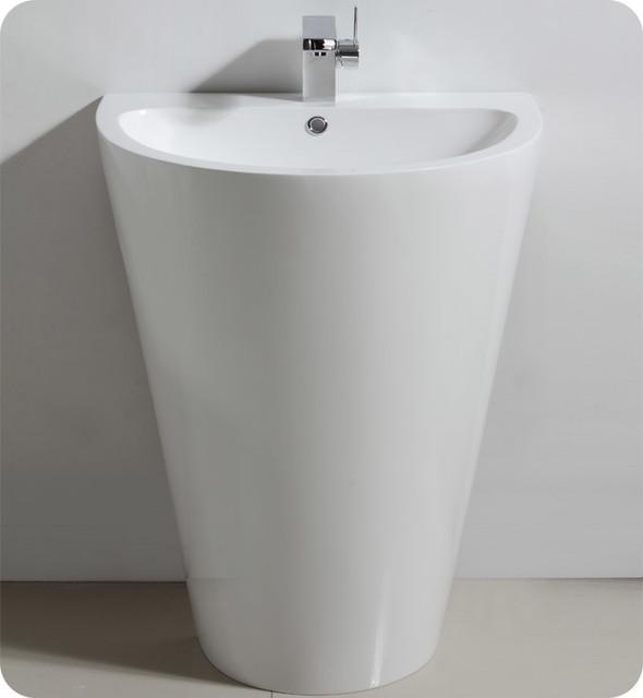 24 Parma Pedestal Sink Modern Bathroom Vanity FVN5023WH Modern Sa
