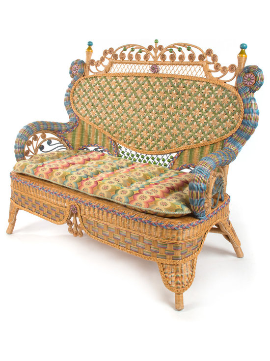 Lake House Settee | MacKenzie-Childs - Perfect for tea for two. Inspired by 19th-century tea plantation furniture, this colorful, hand-woven wicker collection would be equally at home in a cottage or a grand setting. Our Lake House Wicker Collection is perfect for your lake house or any house. Comfortable and casual, yet also elegant. Hand-stained wicker features intricate steam-bent flourishes that make each piece unique and the focal point of any room. Cushions included. So many intricate details, you'll never be at a loss for a topic.