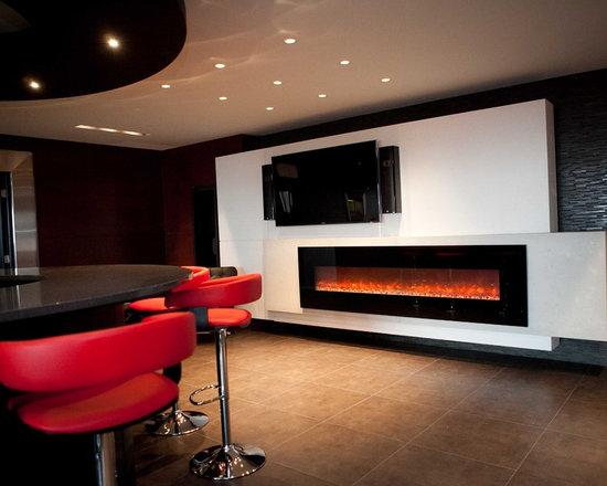 dekko Concrete Decor - CustomLightweight Concrete Mantel - Linear Custom Concrete Mantel, with Floating Lightweight Concrete Panels for Flat Screen TV.