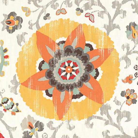 Orange Suzani Indoor Outdoor Fabric modern-outdoor-fabric