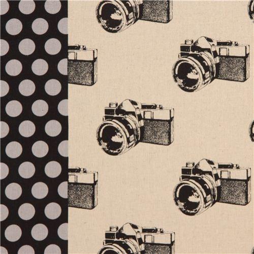Natural Retro Camera Laminate Echino Fabric Camera Fabric