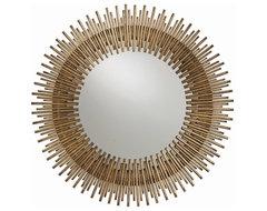 Arteriors Prescott Antiqued Gold Leaf Round Iron Mirror contemporary-accessories-and-decor