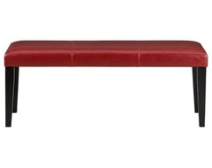 Pullman Red Leather Bench | Crate&Barrel contemporary-indoor-benches