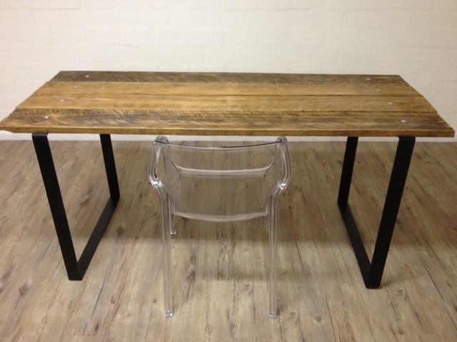Reclaimed Wood Table w/ Steel Square Legs modern-dining-tables