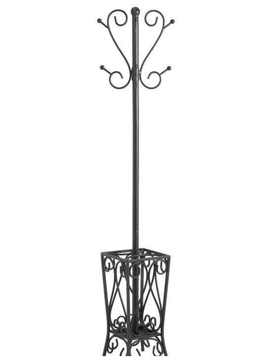 Holly & Martin - Brighton Coat Rack and Umbrella Stand - Everyone finds themselves looking for somewhere to lay their coat, bags, etc.. Adding a coat rack to your home is the perfect solution and this great scrolled steel stand makes a beautiful and useful solution. The top of the tree incorporates an upper and lower set of hooks to hold both hats and coats easily. The bottom opens up into a spacious umbrella stand with broad four-legged base for maximum stability. This unit measures 69 inches tall by 13 inches in diameter. This ornate coat rack and umbrella stand is sure to make your life easier and provide great storage solutions when entertaining. Some assembly required.
