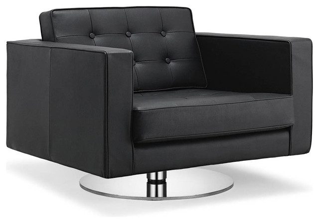 Chelsea Black Leather Swivel Arm Chair modern armchairs