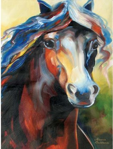 Colorful Thoroughbred Horse Portrait Wall Art Painting Decoration eclectic-artwork
