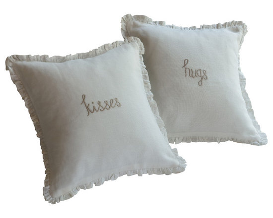Taylor Linens - Kisses Natural Embroidered Toss Pillow - Send a loved one off to sleep on a downy cushion of kisses. This endearing throw pillow features an embroidered sentiment framed by a flurry of ruffles trimmed in lace. A welcome reminder of your affection, it deserves a place on every bed.