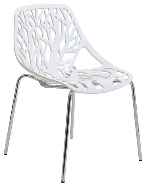 Stencil Dining Side Chair in White Modern Dining