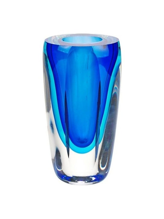 Imported - Murano Style Azure Art Glass 6 Inch Vase - Murano style and azure color will enhance your decor.