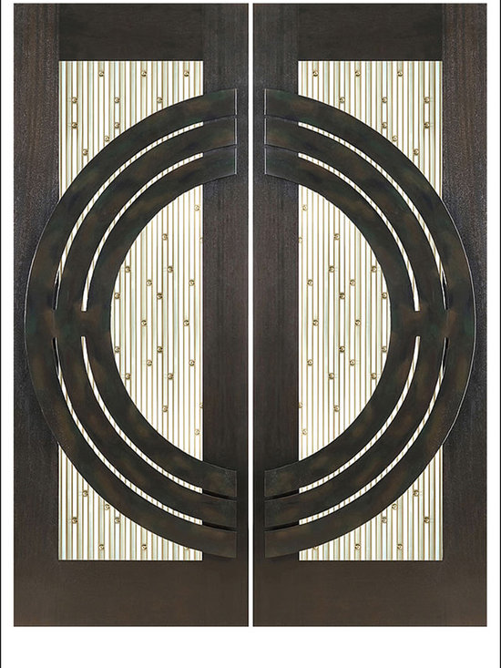 """AAW Inc. - Contemporary Entry Door Model NW-1687 - Model NW-1687 from our New World Collection. Door is solid Mahogany, 2-1/4"""" thick with decorative glass and  iron work on the outside."""