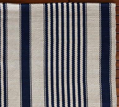 Port Stripe Indoor Outdoor Rug Blue