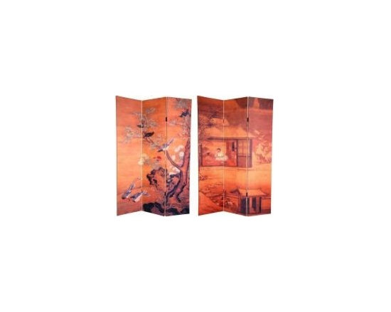 Functional Art/Photography Printed on a 6ft Folding Screen - 6ft folding screen in 3 panels with two double sided images. The front is from a silk screen painting that depicts a blooming plum blossom tree on which a variety of birds are perched. On the back is simple, elegant tea garden scene