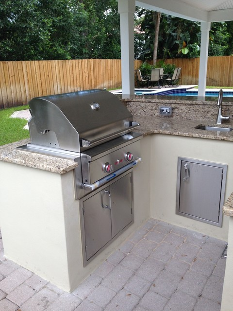 South Tampa Covered Lanai Outdoor Kitchen Transitional Tampa By P