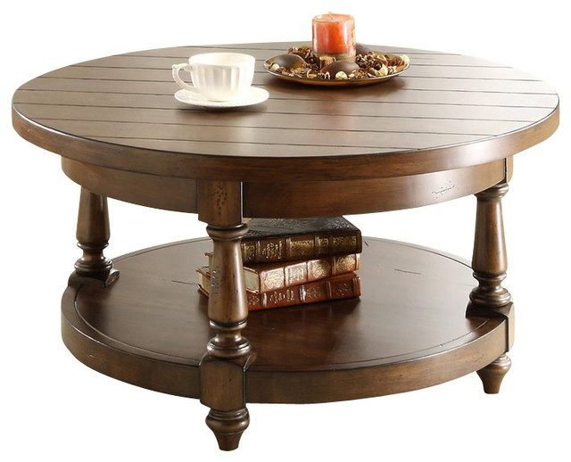 Riverside furniture newburgh round cocktail table in antique ginger traditional coffee Traditional coffee tables and end tables