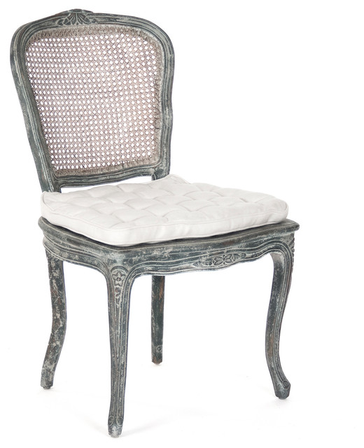 Caned Back French Country Annette Dining Chair - Antique Black transitional-dining-chairs