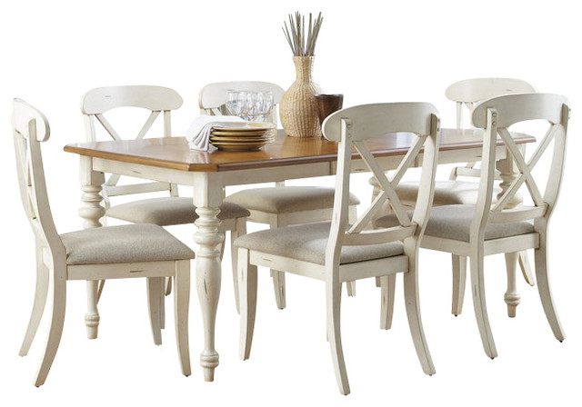 Liberty Furniture Ocean Isle 8 Piece 72x38 Dining Room Set w/ X Back Side Chairs traditional-dining-sets