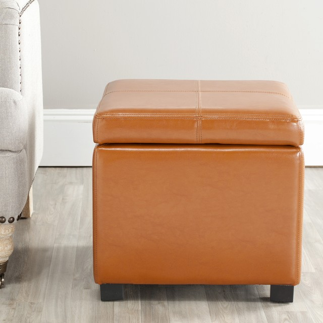 Safavieh Broadway Saddle Leather Storage Ottoman contemporary-footstools-and-ottomans