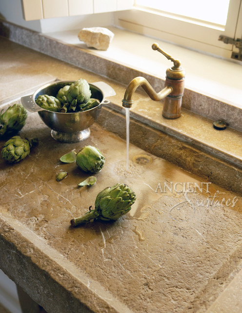 Reclaimed Stone Sink : Antique Kitchen Stone Sinks - Mediterranean - Kitchen Sinks - new york ...