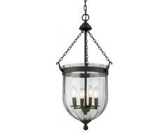 Four Light Bronze Clear Glass Foyer Hall Pendant traditional-wall-lighting