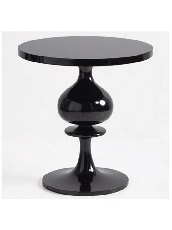 turned wood pedestal table - black -