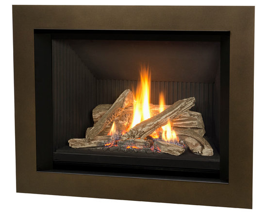 H5 Series Fireplace - 1150I H5 Engine shown with Logs and 4 Sided Bronze Surround