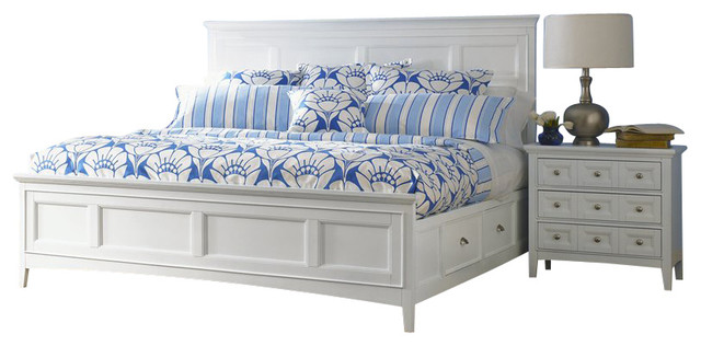 Magnussen Kentwood Storage Panel Bed 2 Piece Bedroom Set In White Transitional Beds By Cymax