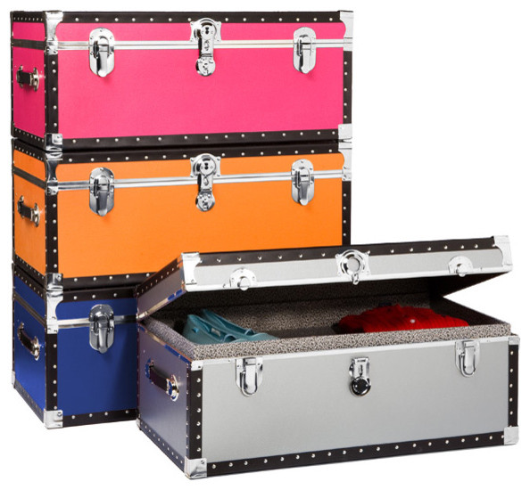 Footlocker with tray storage bins and boxes by the