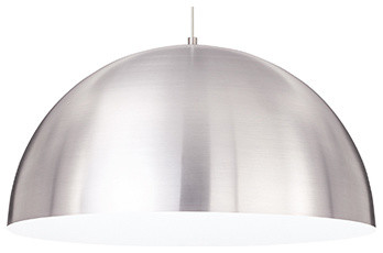 Powell Street Satin Nickel One-Light Fluorescent Pendant with White Shade contemporary-pendant-lighting