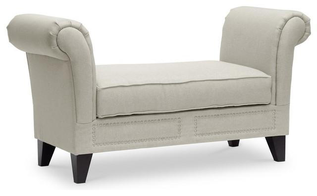 light beige linen modern scroll arm bench transitional bedroom benches