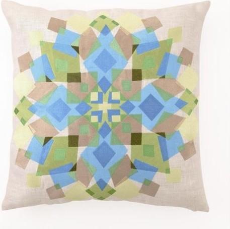 Blu/Grn Kaleidescope EMB PLW tropical-pillows