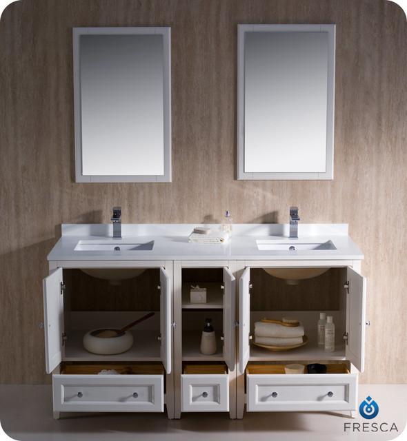 "60"" Oxford Double Vanity - White (FVN20-241224AW) modern"