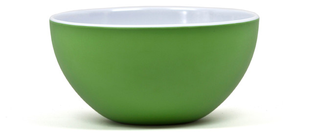 "10"" Round Bowl Victorian - Two-Tone Kelly Green/Arctic White contemporary-bowls"