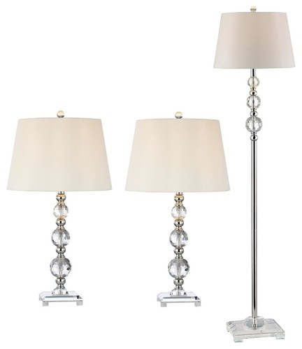 Crystal Table and Floor Lamp Set - bathroom lighting and vanity