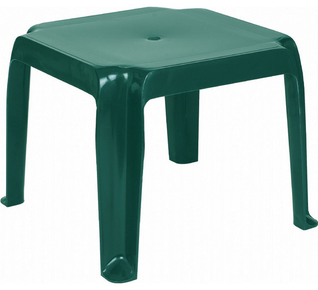 Sunray Resin Square Side Table - Green contemporary-outdoor-dining-tables