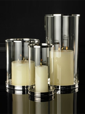 Silver Modern Hurricane contemporary candles and candle holders