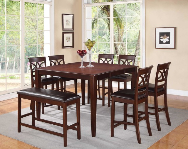 F 8 pc cherry wood counter dining set table chairs bench for Cherry wood dining room set
