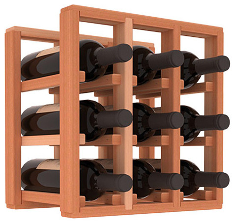 9 Bottle Counter Top/Pantry Wine Rack in Redwood, (Unstained) contemporary-wine-racks