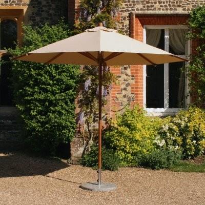Bambrella Levante 11.5 ft. Free Standing Round Bamboo Market Umbrella modern-outdoor-umbrellas
