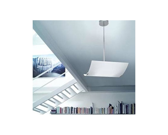 Selis S Pendant Lamp By Leucos Lighting - Pendant fixture providing diffused upward and downward lighting through its curved hand-blown Murano glass diffuser.